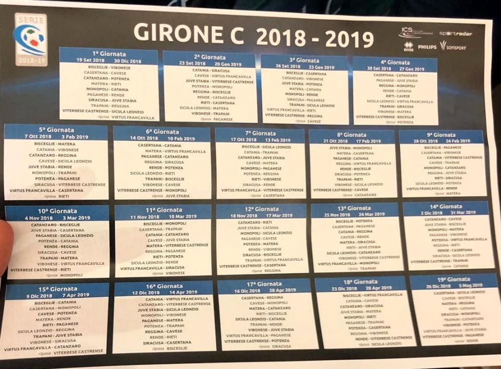 Calendario Serie C 2020.Calendario Calcio Lega Pro Girone C